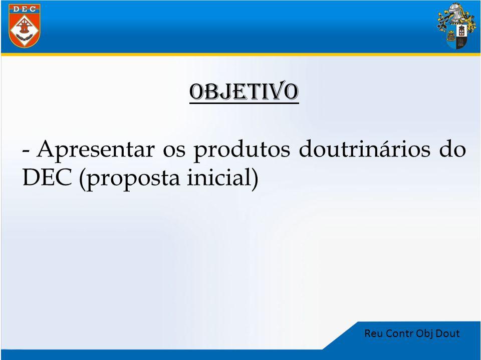 Apresentar os produtos doutrinários do DEC (proposta inicial)