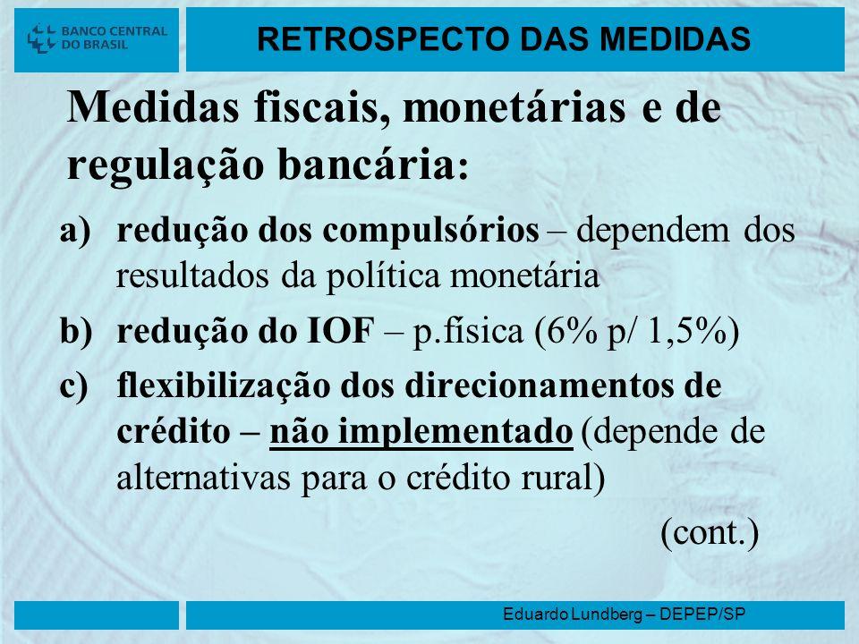 Medidas fiscais, monetárias e de regulação bancária: