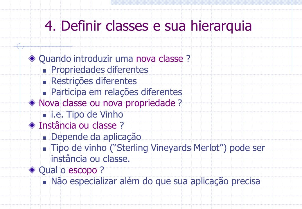 4. Definir classes e sua hierarquia