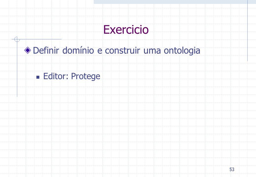 Exercicio Definir domínio e construir uma ontologia Editor: Protege