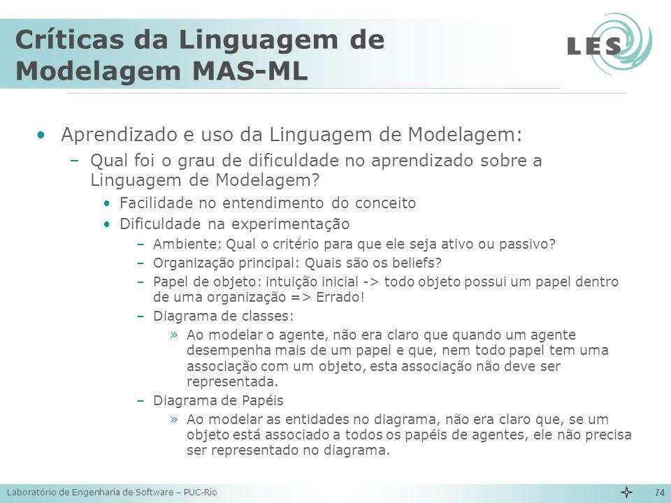 Críticas da Linguagem de Modelagem MAS-ML