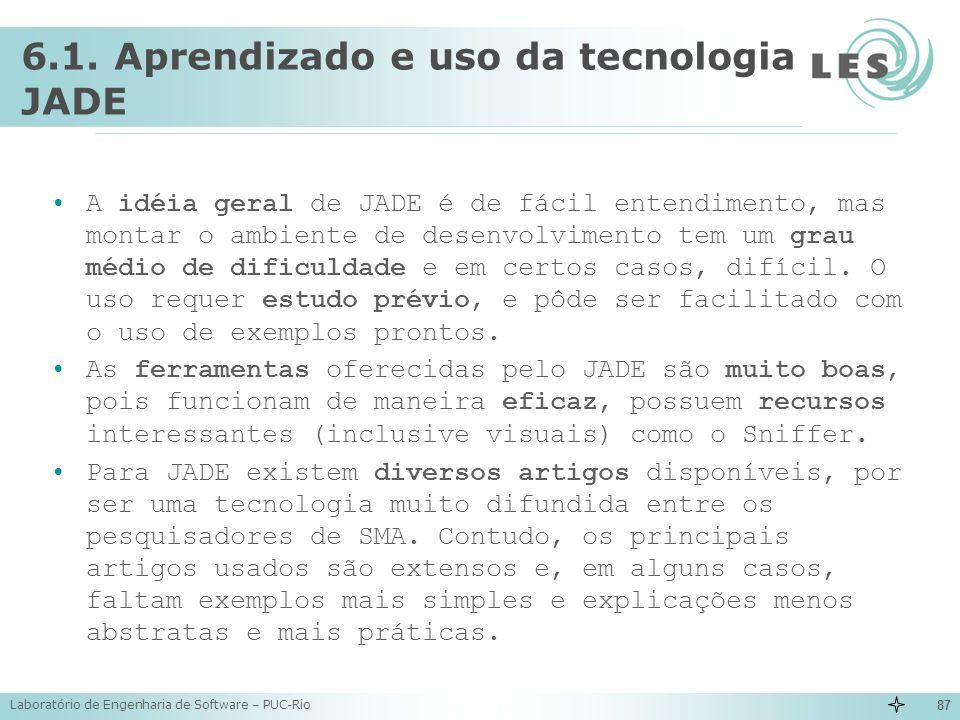 6.1. Aprendizado e uso da tecnologia JADE