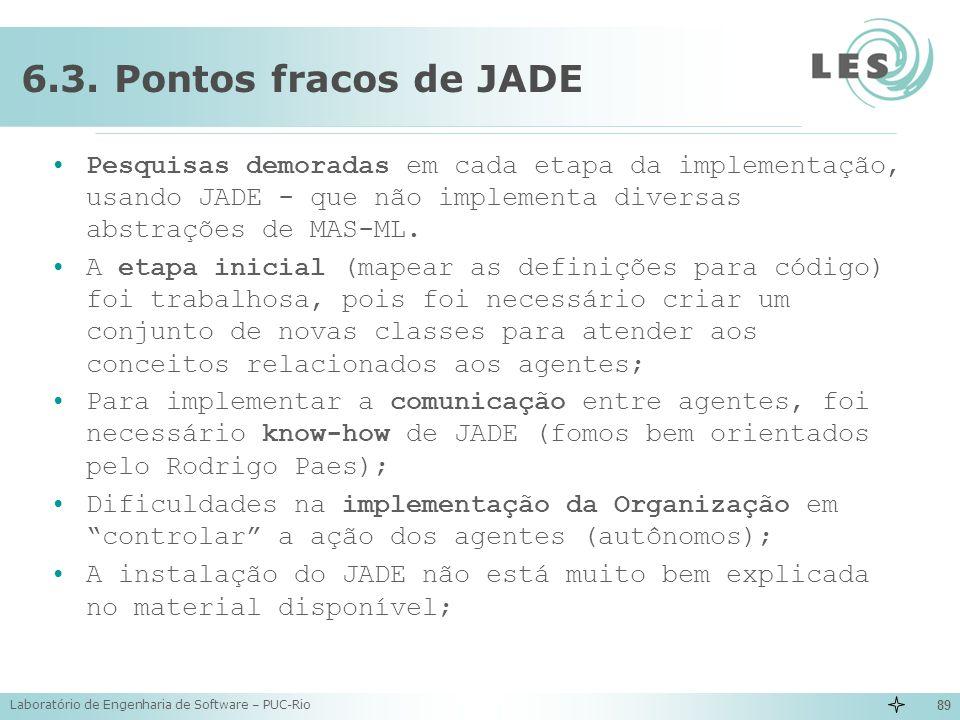 6.3. Pontos fracos de JADE Pesquisas demoradas em cada etapa da implementação, usando JADE - que não implementa diversas abstrações de MAS-ML.