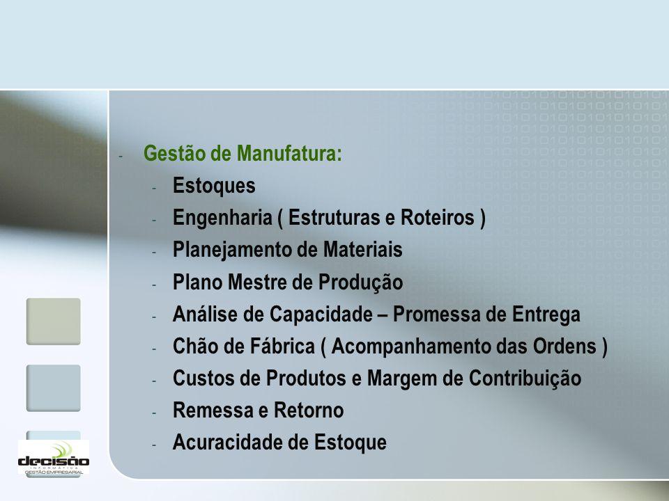 Gestão de Manufatura: Estoques. Engenharia ( Estruturas e Roteiros ) Planejamento de Materiais. Plano Mestre de Produção.