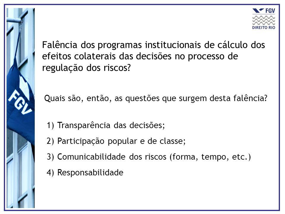Falência dos programas institucionais de cálculo dos efeitos colaterais das decisões no processo de regulação dos riscos