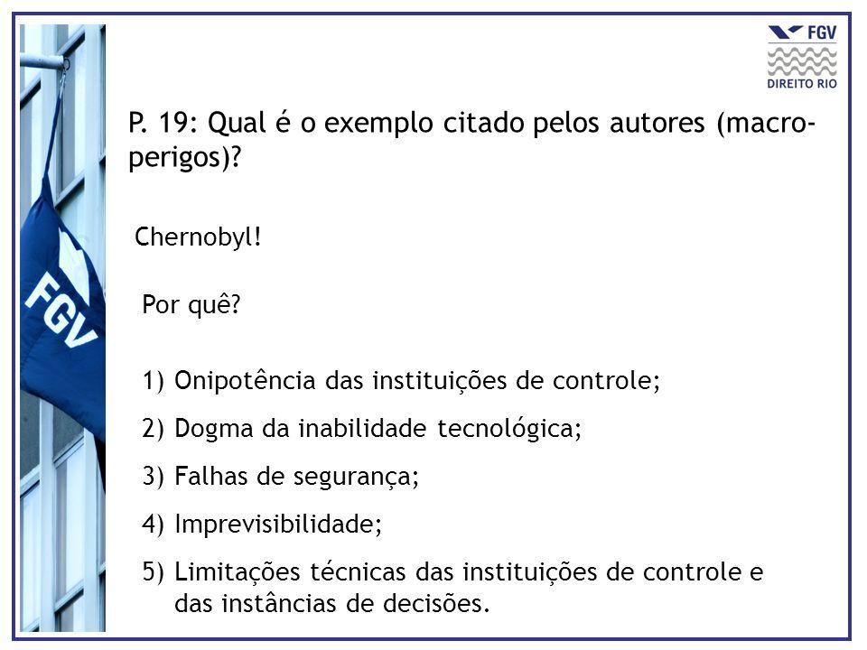 P. 19: Qual é o exemplo citado pelos autores (macro-perigos)