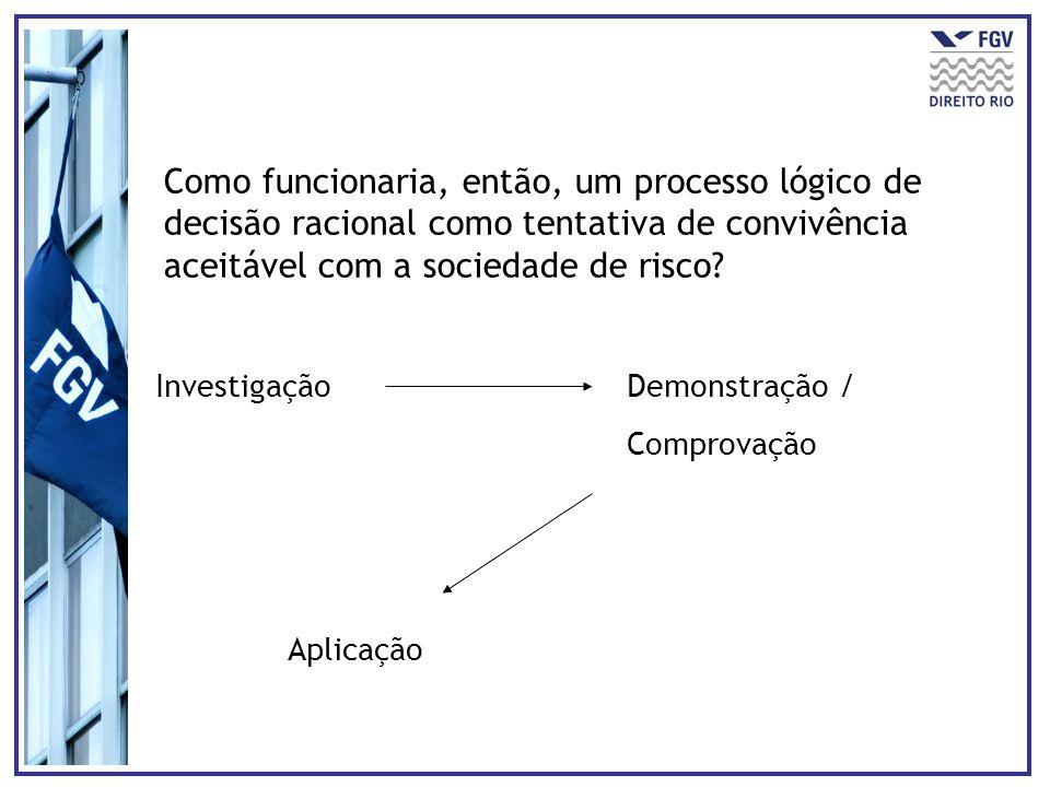 Como funcionaria, então, um processo lógico de decisão racional como tentativa de convivência aceitável com a sociedade de risco