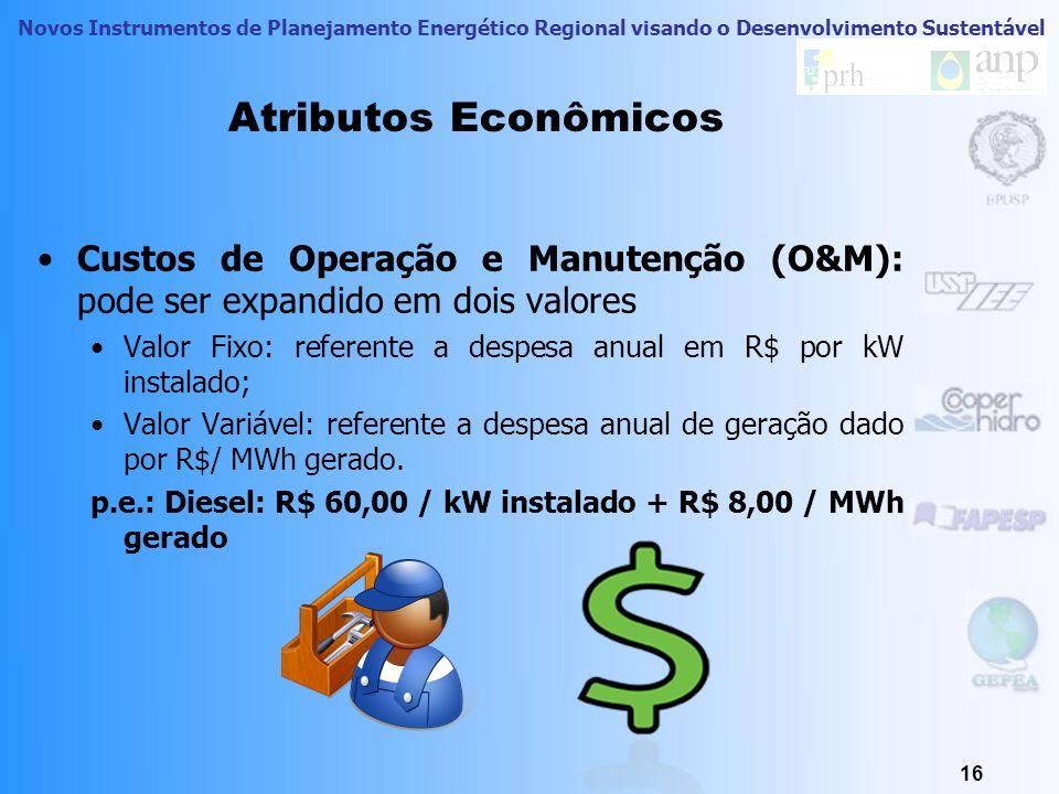 Atributos EconômicosCustos de Operação e Manutenção (O&M): pode ser expandido em dois valores.