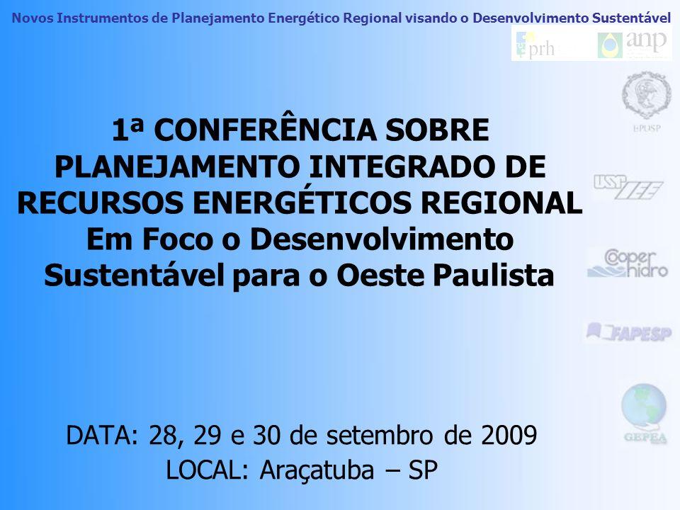1ª CONFERÊNCIA SOBRE PLANEJAMENTO INTEGRADO DE RECURSOS ENERGÉTICOS REGIONAL Em Foco o Desenvolvimento Sustentável para o Oeste Paulista