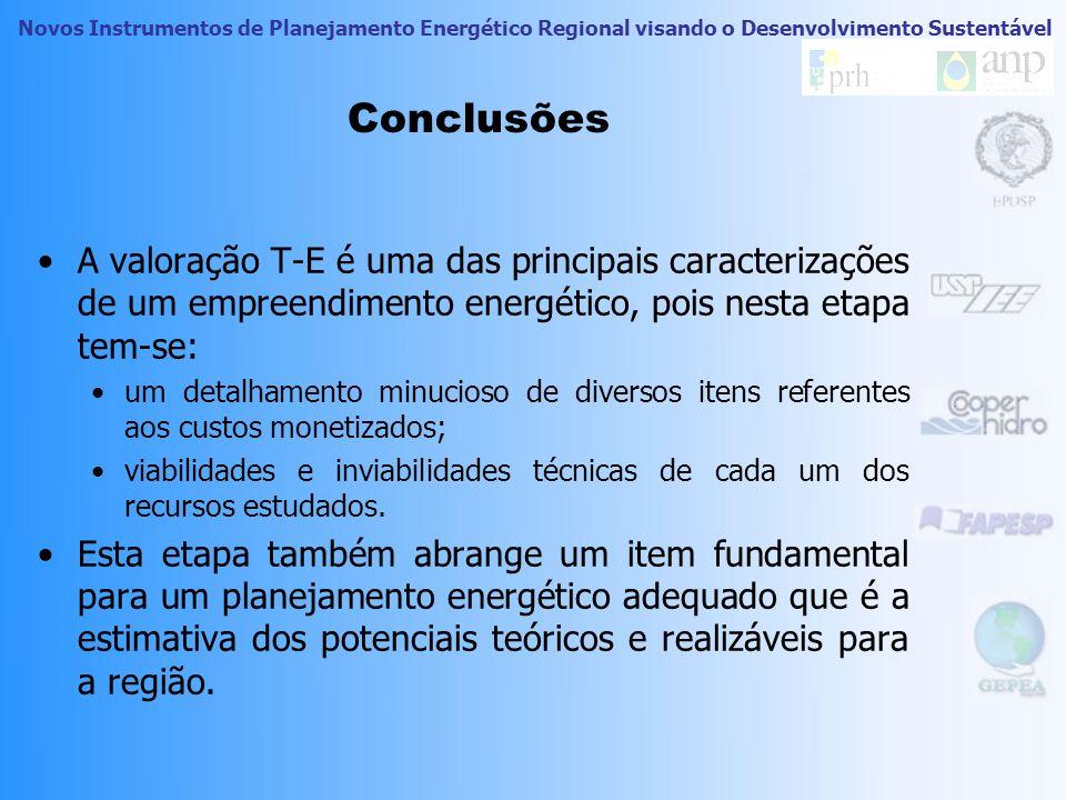 Conclusões A valoração T-E é uma das principais caracterizações de um empreendimento energético, pois nesta etapa tem-se: