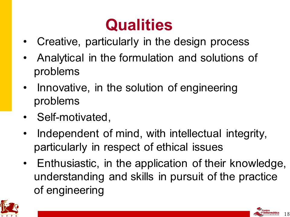Qualities Creative, particularly in the design process