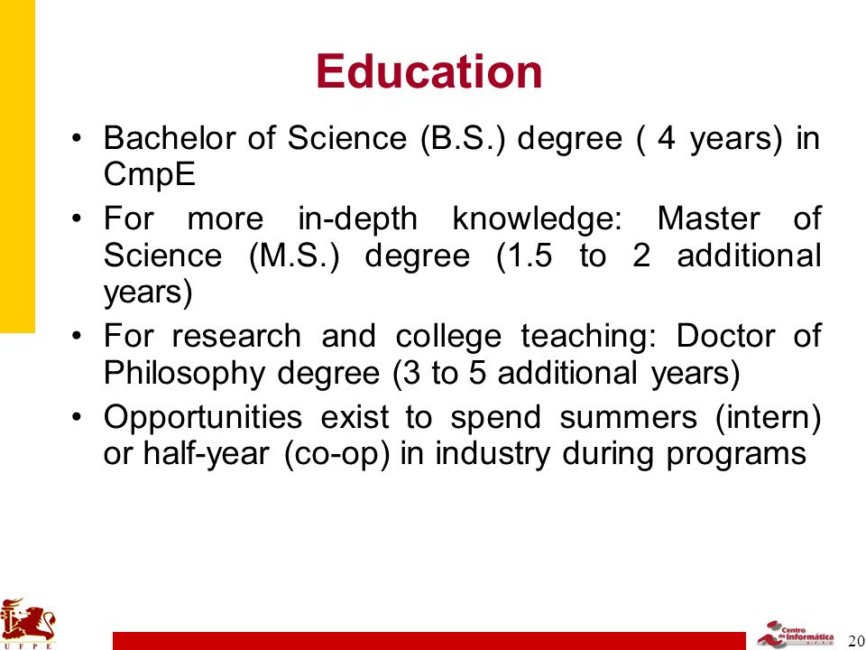 Education Bachelor of Science (B.S.) degree ( 4 years) in CmpE