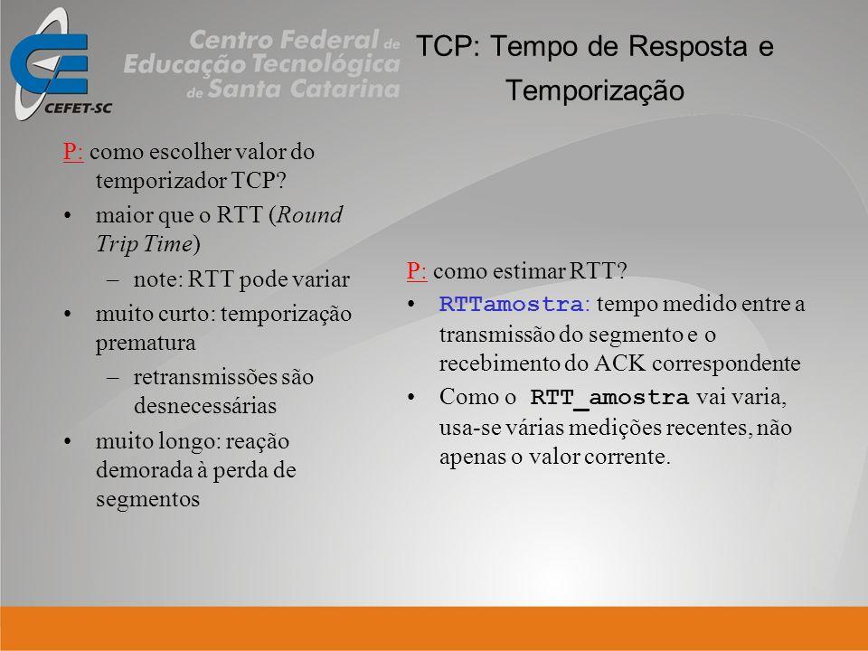 TCP: Tempo de Resposta e Temporização