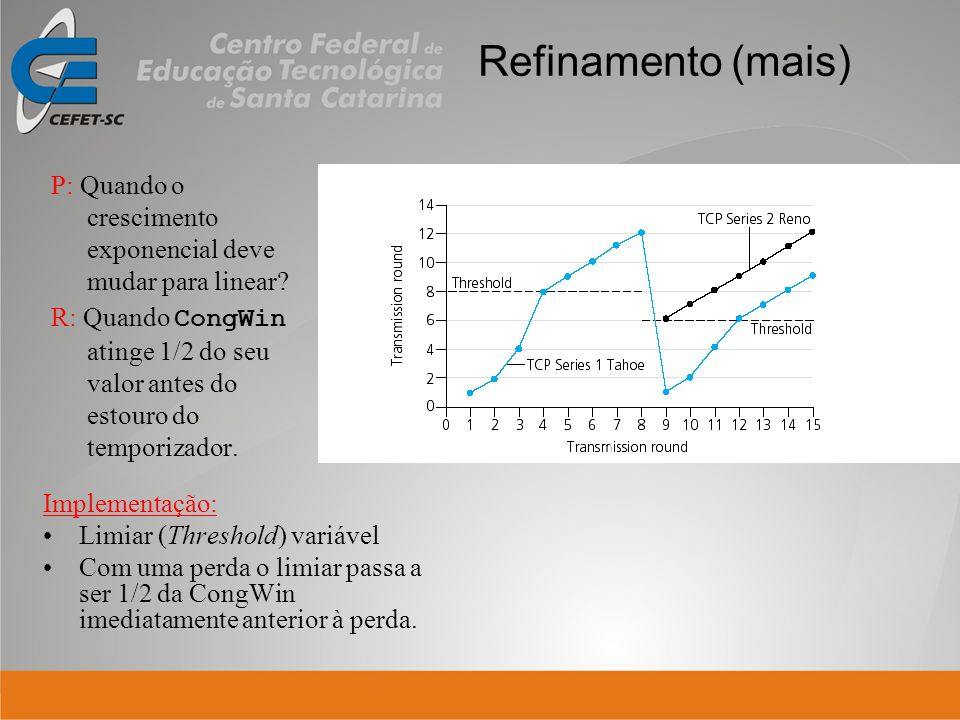 Refinamento (mais) P: Quando o crescimento exponencial deve mudar para linear