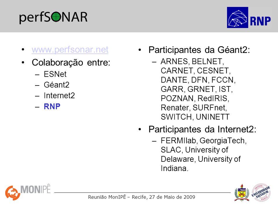 perfSONAR www.perfsonar.net Participantes da Géant2: