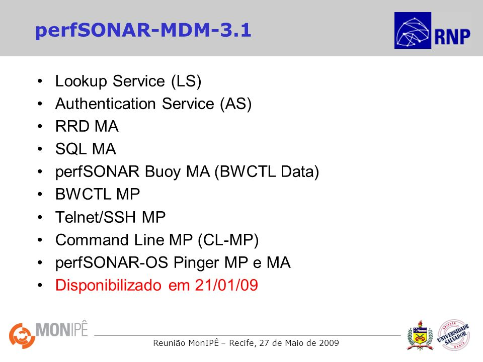 perfSONAR-MDM-3.1 Lookup Service (LS) Authentication Service (AS)