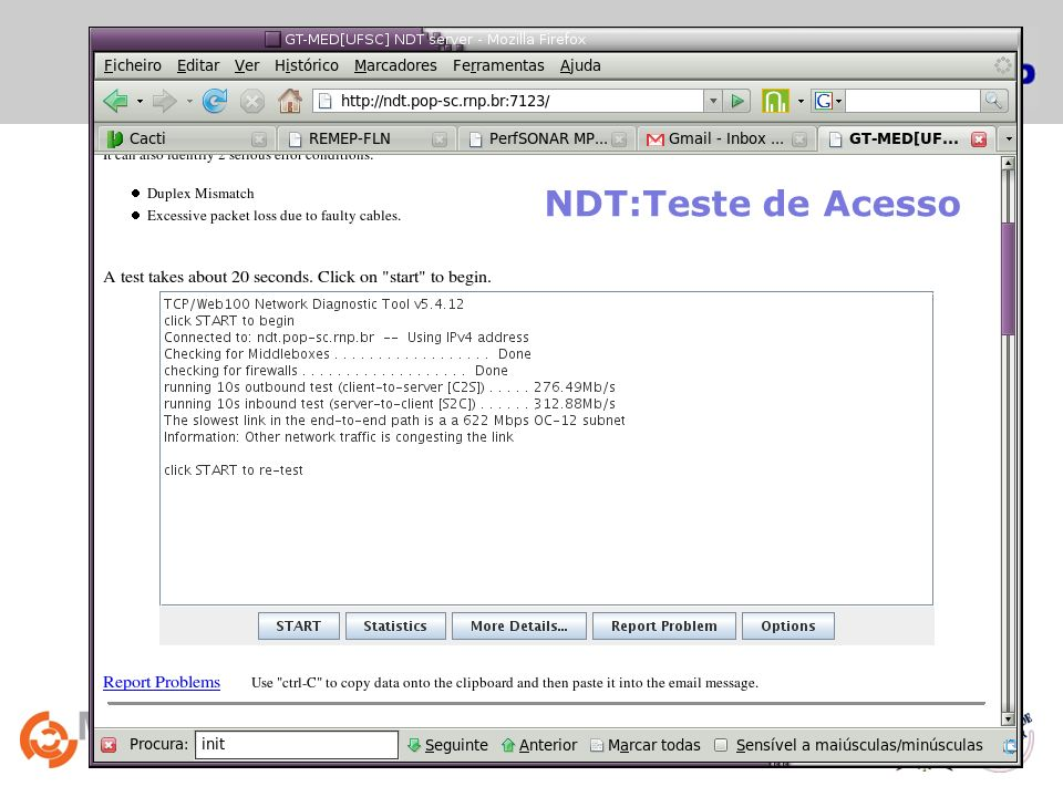 NDT:Teste de Acesso Network Diagnostic Tester