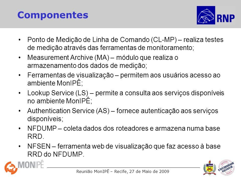 Componentes Ponto de Medição de Linha de Comando (CL-MP) – realiza testes de medição através das ferramentas de monitoramento;