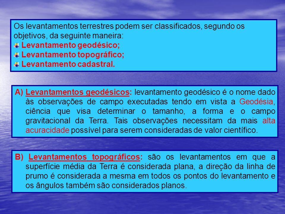Os levantamentos terrestres podem ser classificados, segundo os objetivos, da seguinte maneira: