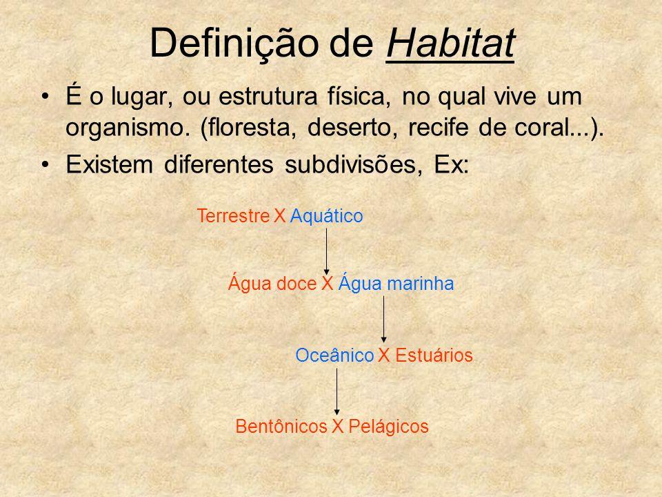 Definição de Habitat É o lugar, ou estrutura física, no qual vive um organismo. (floresta, deserto, recife de coral...).