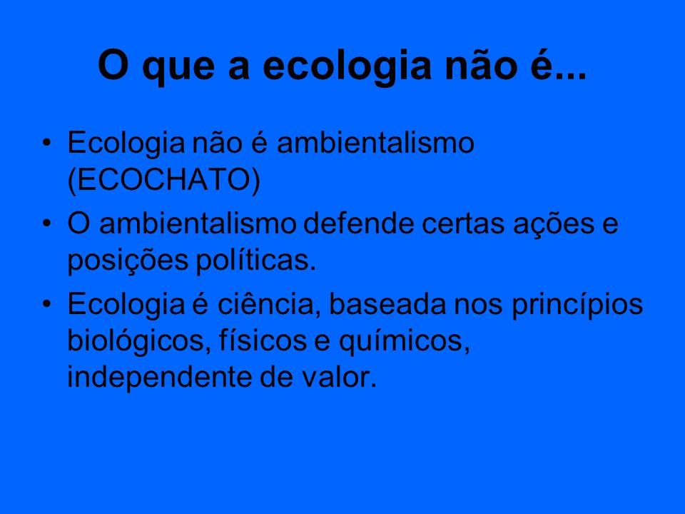 O que a ecologia não é... Ecologia não é ambientalismo (ECOCHATO)