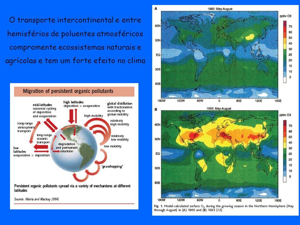 O transporte intercontinental e entre hemisférios de poluentes atmosféricos compromente ecossistemas naturais e agrícolas e tem um forte efeito no clima