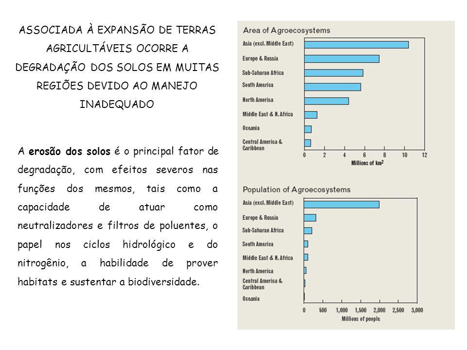 ASSOCIADA À EXPANSÃO DE TERRAS AGRICULTÁVEIS OCORRE A DEGRADAÇÃO DOS SOLOS EM MUITAS REGIÕES DEVIDO AO MANEJO INADEQUADO