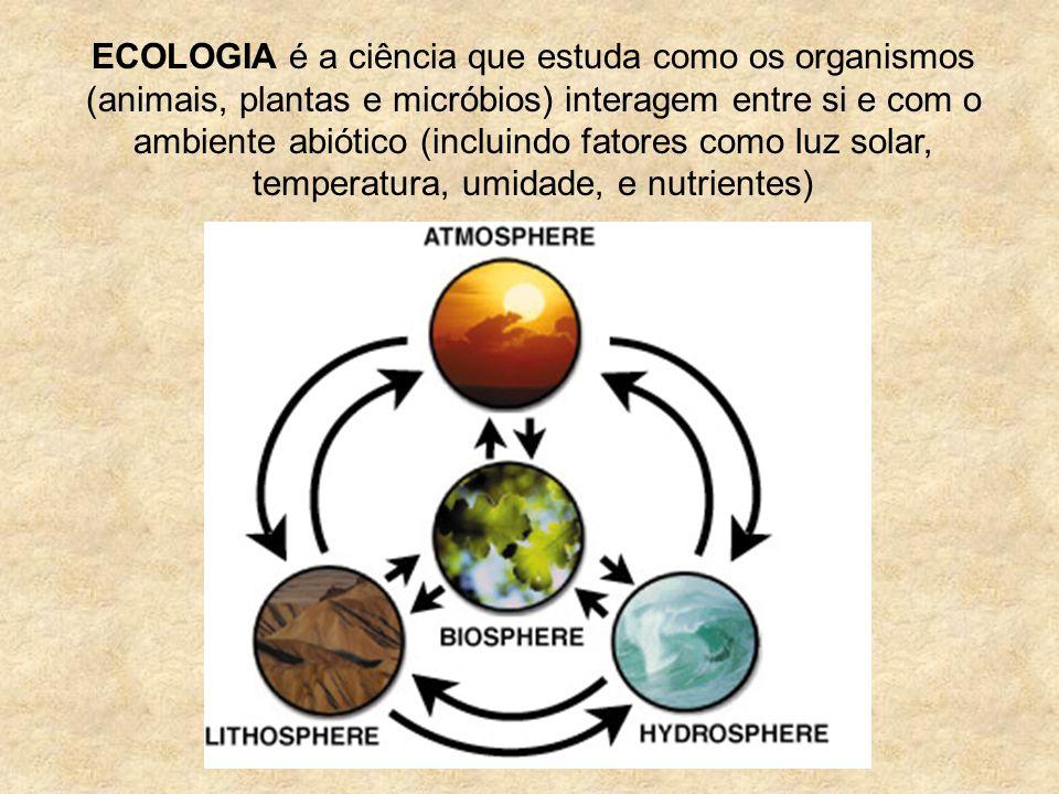 ECOLOGIA é a ciência que estuda como os organismos (animais, plantas e micróbios) interagem entre si e com o ambiente abiótico (incluindo fatores como luz solar, temperatura, umidade, e nutrientes)