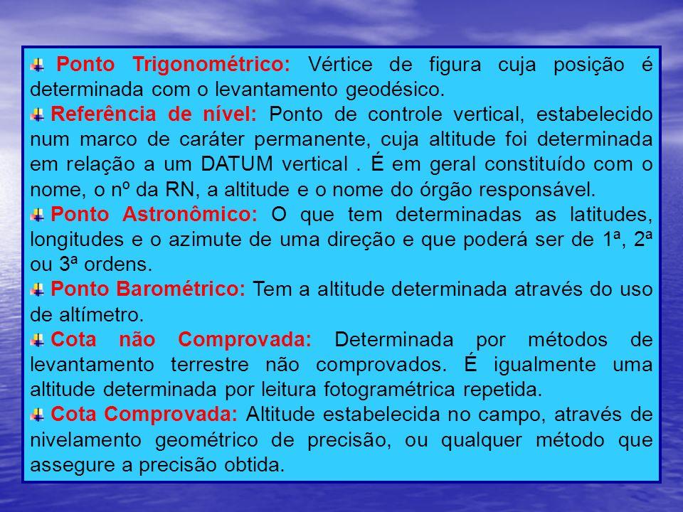 Ponto Trigonométrico: Vértice de figura cuja posição é determinada com o levantamento geodésico.