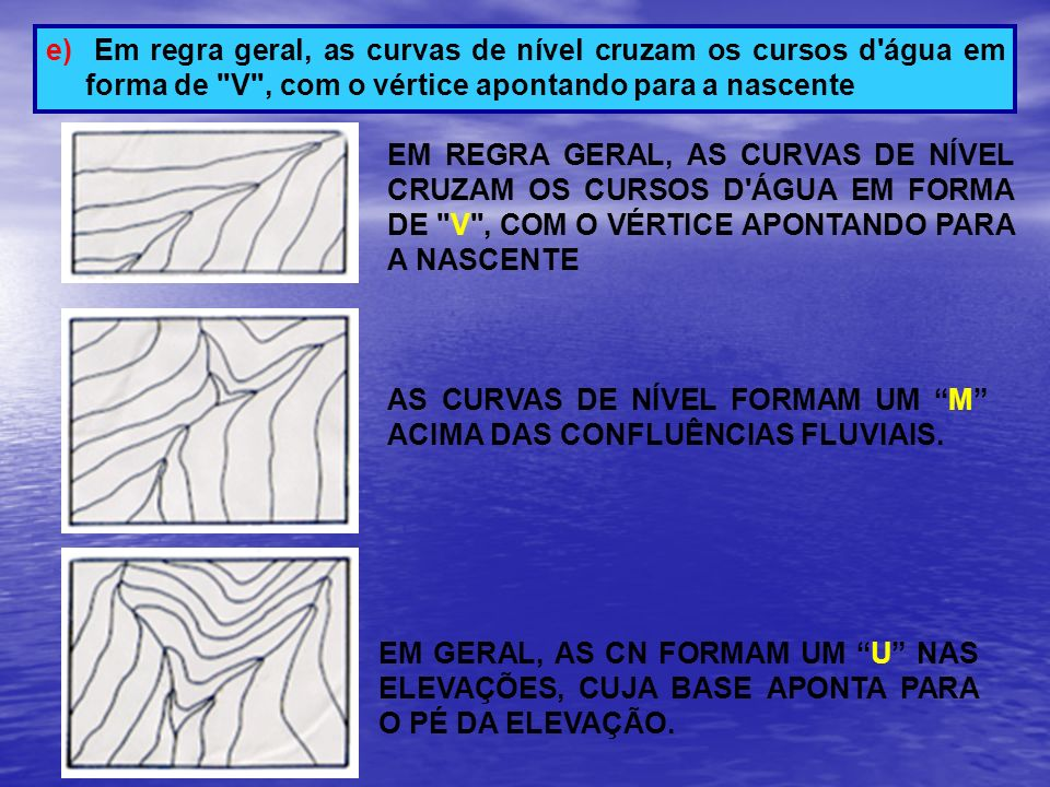 Em regra geral, as curvas de nível cruzam os cursos d água em forma de V , com o vértice apontando para a nascente