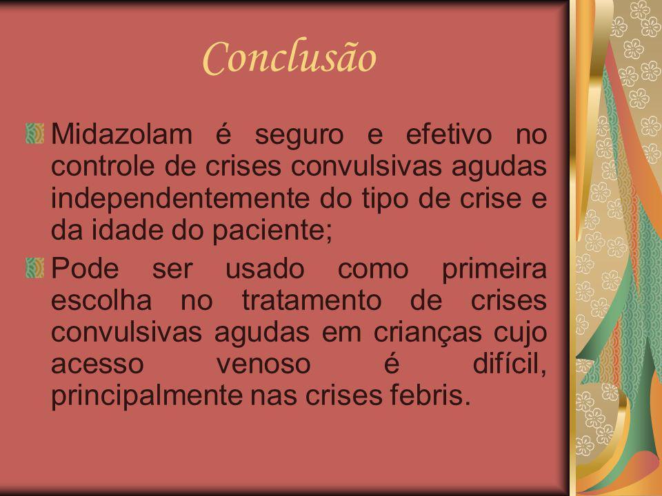 Conclusão Midazolam é seguro e efetivo no controle de crises convulsivas agudas independentemente do tipo de crise e da idade do paciente;