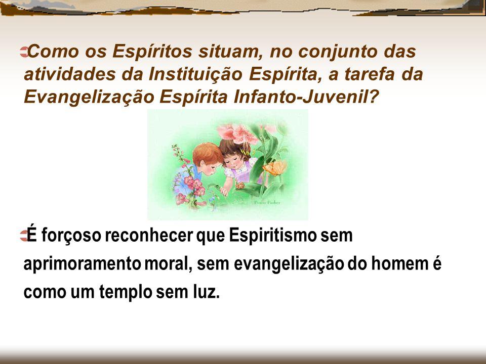 Como os Espíritos situam, no conjunto das atividades da Instituição Espírita, a tarefa da Evangelização Espírita Infanto-Juvenil