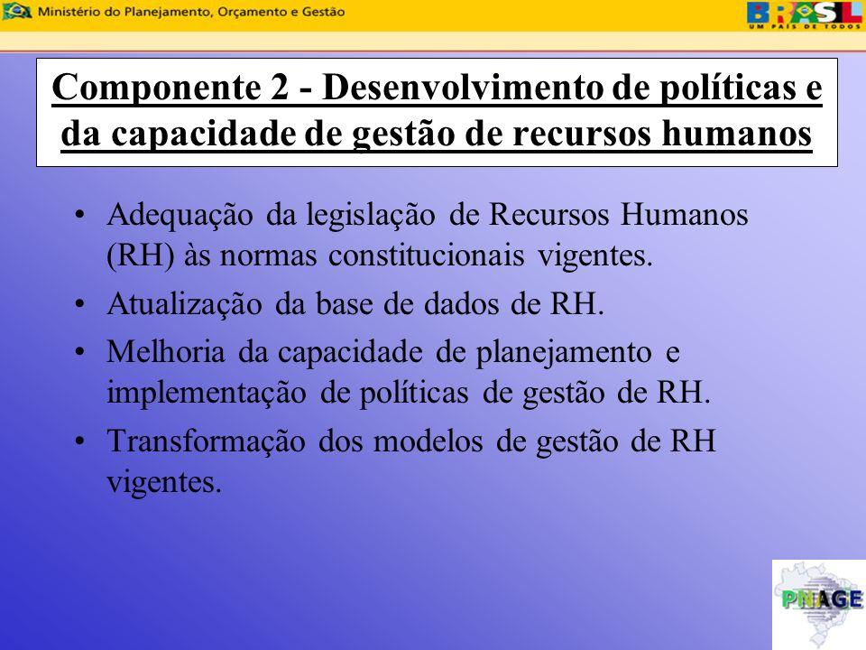 Componente 2 - Desenvolvimento de políticas e da capacidade de gestão de recursos humanos