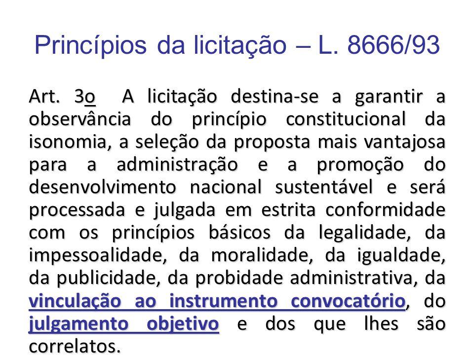 Princípios da licitação – L. 8666/93