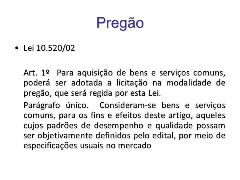 Pregão Lei 10.520/02.