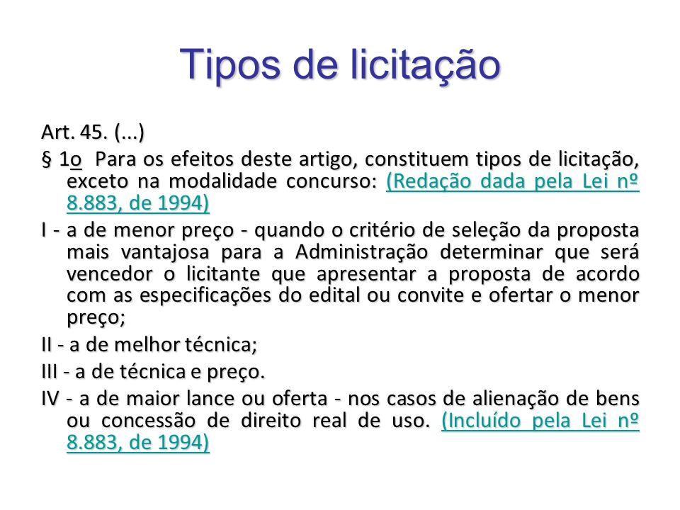 Tipos de licitação Art. 45. (...)