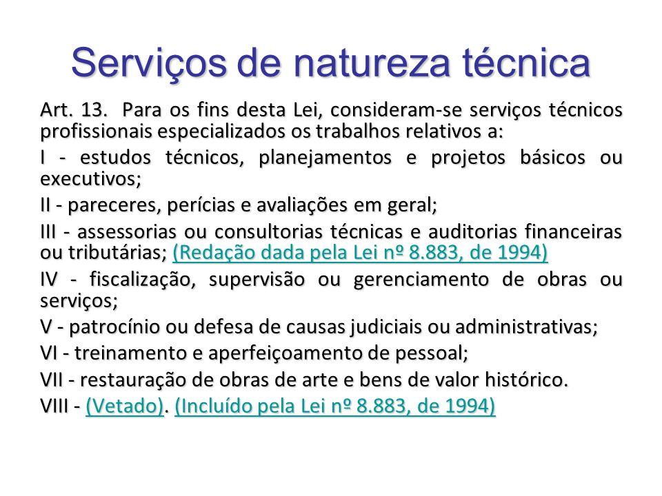 Serviços de natureza técnica