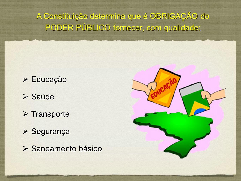 A Constituição determina que é OBRIGAÇÃO do PODER PÚBLICO fornecer, com qualidade:
