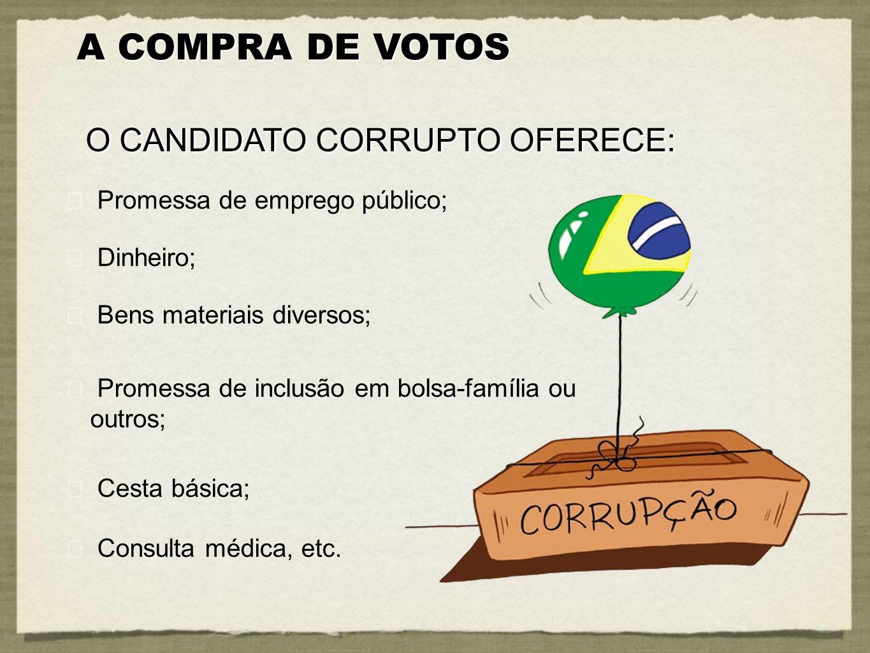 A COMPRA DE VOTOS O CANDIDATO CORRUPTO OFERECE: