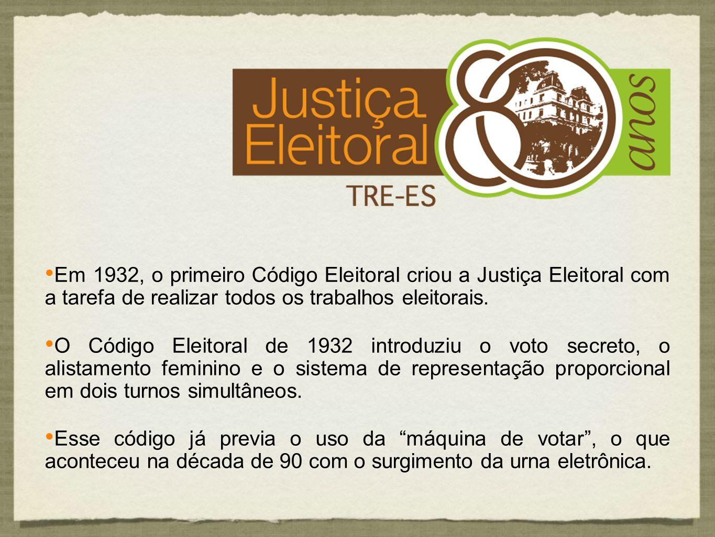 Em 1932, o primeiro Código Eleitoral criou a Justiça Eleitoral com a tarefa de realizar todos os trabalhos eleitorais.