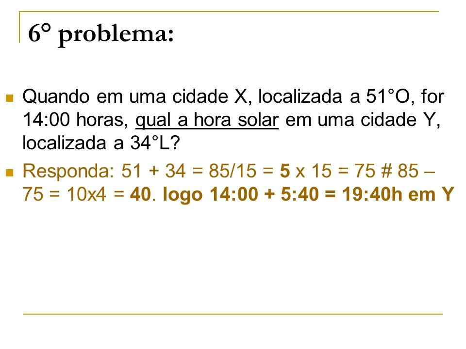 6° problema: Quando em uma cidade X, localizada a 51°O, for 14:00 horas, qual a hora solar em uma cidade Y, localizada a 34°L