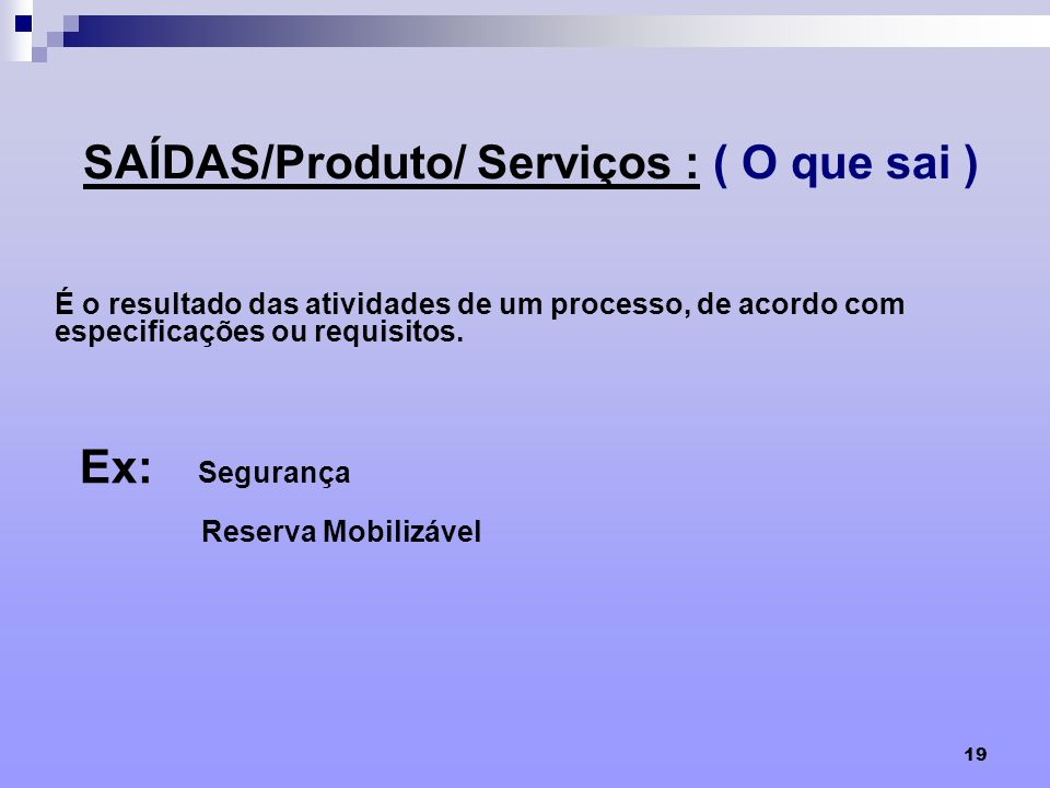 SAÍDAS/Produto/ Serviços : ( O que sai )