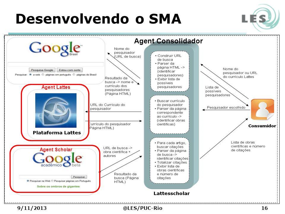 Desenvolvendo o SMA Agent Consolidador Agent Lattes Agent Scholar