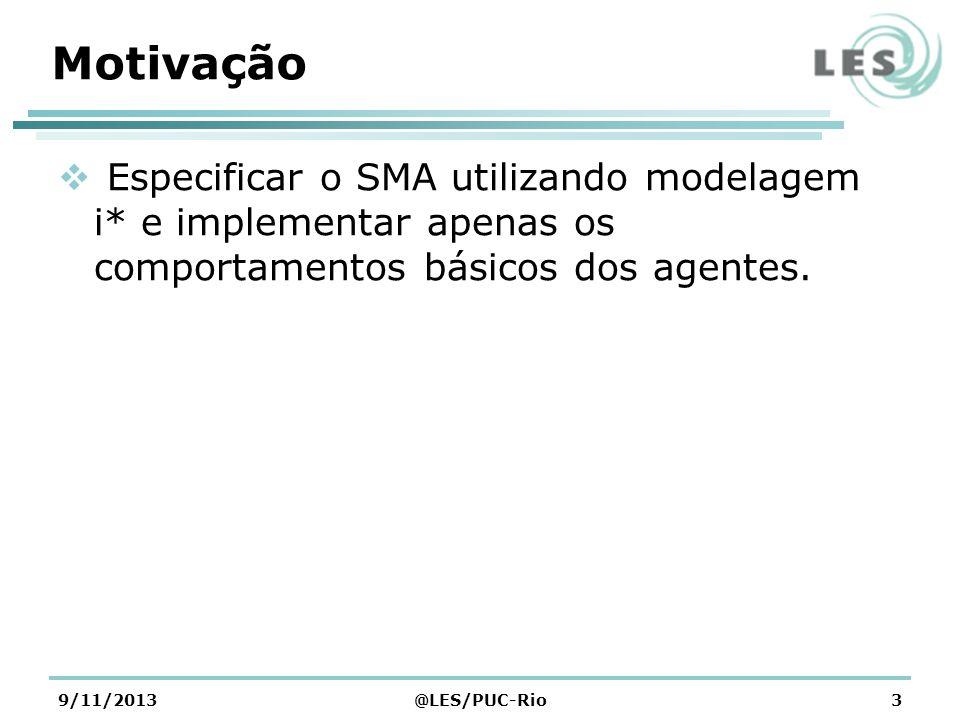 Motivação Especificar o SMA utilizando modelagem i* e implementar apenas os comportamentos básicos dos agentes.