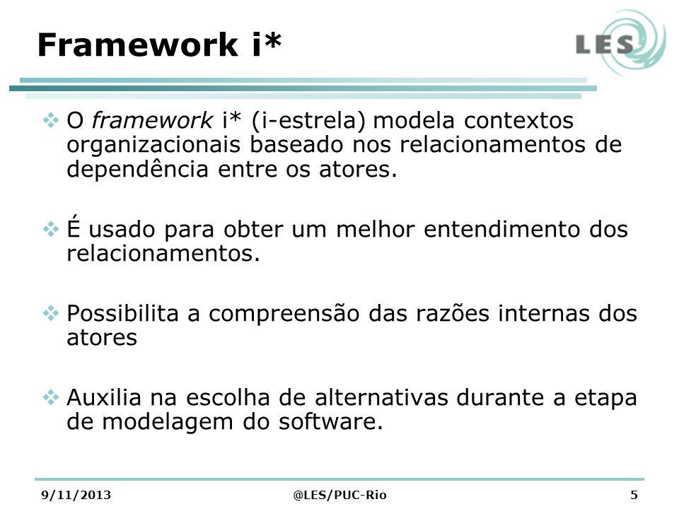 Framework i*O framework i* (i-estrela) modela contextos organizacionais baseado nos relacionamentos de dependência entre os atores.