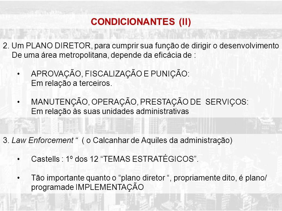 CONDICIONANTES (ll) 2. Um PLANO DIRETOR, para cumprir sua função de dirigir o desenvolvimento De uma área metropolitana, depende da eficácia de :
