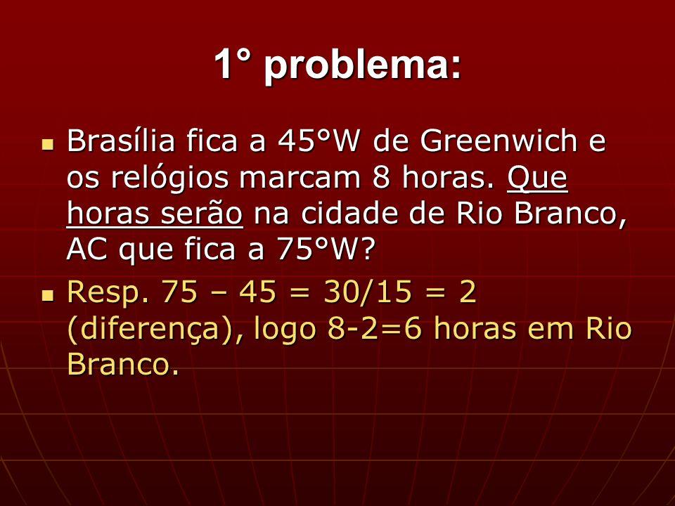 1° problema: Brasília fica a 45°W de Greenwich e os relógios marcam 8 horas. Que horas serão na cidade de Rio Branco, AC que fica a 75°W