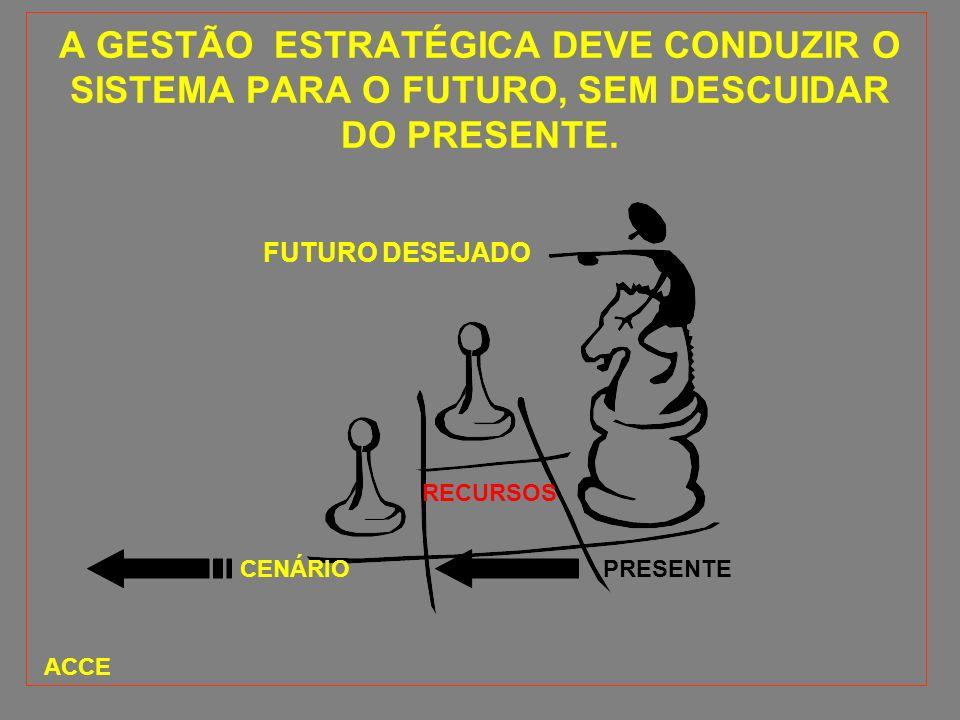 A GESTÃO ESTRATÉGICA DEVE CONDUZIR O SISTEMA PARA O FUTURO, SEM DESCUIDAR DO PRESENTE.