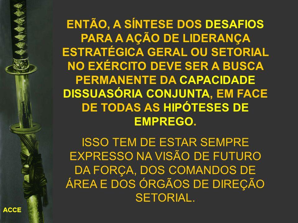 ENTÃO, A SÍNTESE DOS DESAFIOS PARA A AÇÃO DE LIDERANÇA ESTRATÉGICA GERAL OU SETORIAL NO EXÉRCITO DEVE SER A BUSCA PERMANENTE DA CAPACIDADE DISSUASÓRIA CONJUNTA, EM FACE DE TODAS AS HIPÓTESES DE EMPREGO.