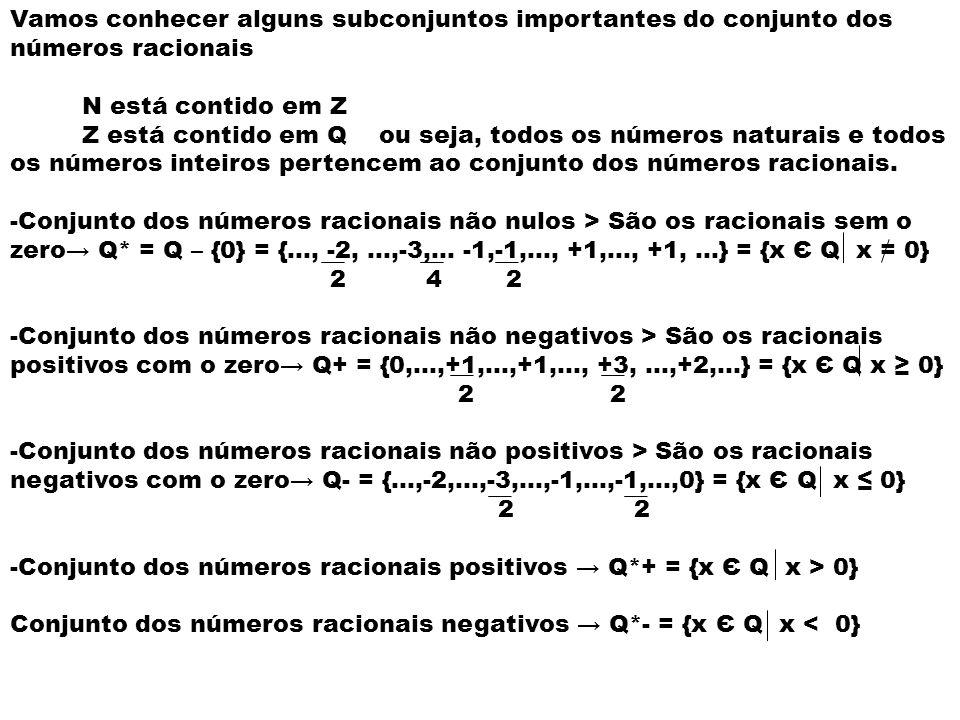 Vamos conhecer alguns subconjuntos importantes do conjunto dos números racionais
